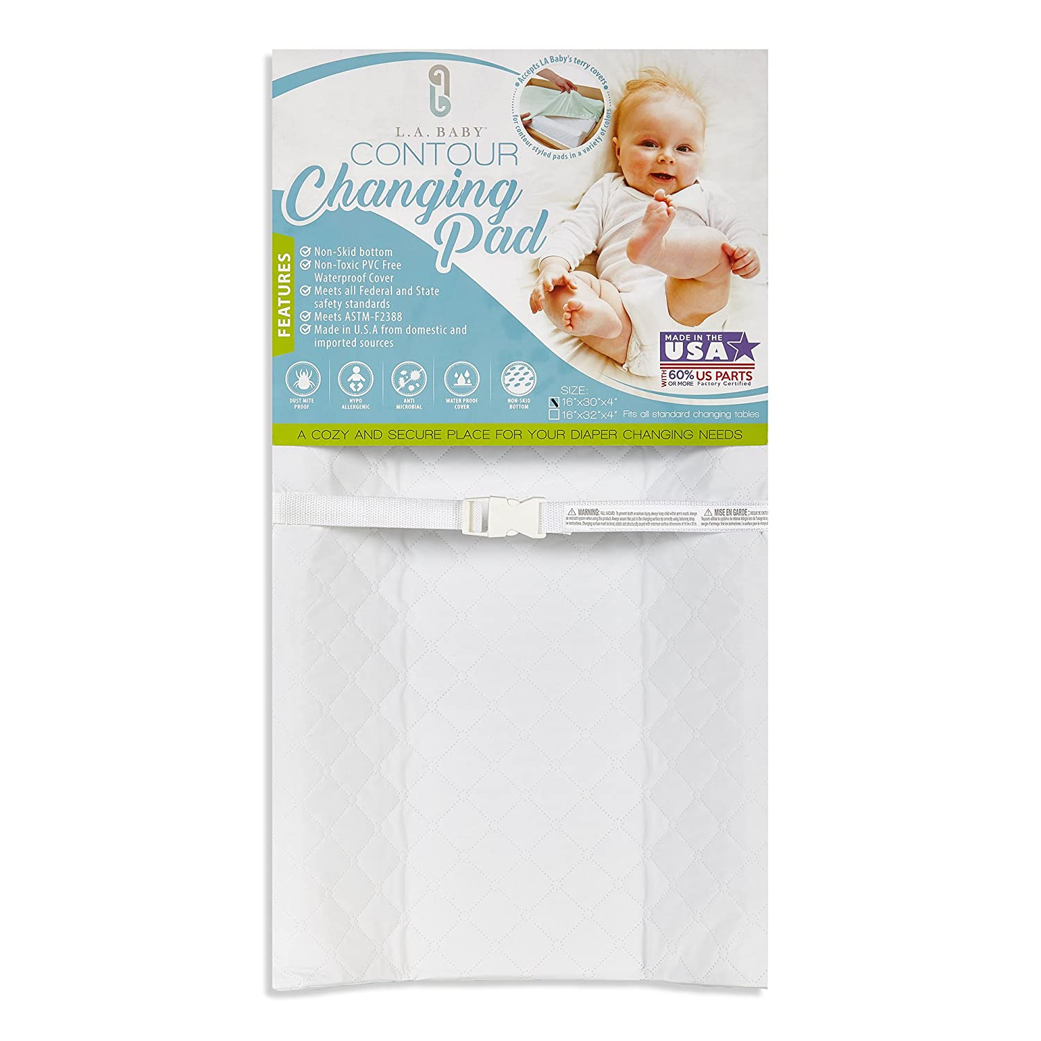 LA Baby Waterproof Contour Changing Pad, 30 - Made in USA. Easy to Clean w/Non-Skid Bottom, Safety Strap, Fits All Standard Changing Tables/Dresser Tops for Best Infant Diaper Change P-3488-30QP