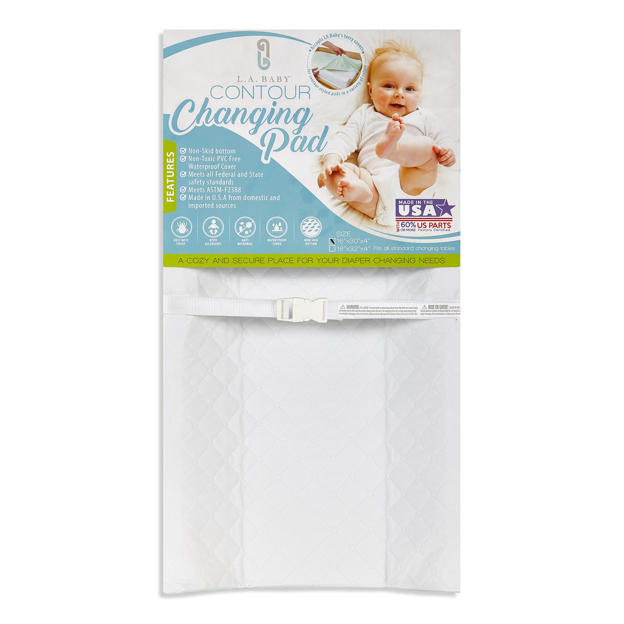 LA Baby Waterproof Contour Changing Pad, 30'' - Made in USA. Easy to Clean w/Non-Skid Bottom, Safety Strap, Fits All Standard Changing Tables/Dresser Tops for Best Infant Diaper Change