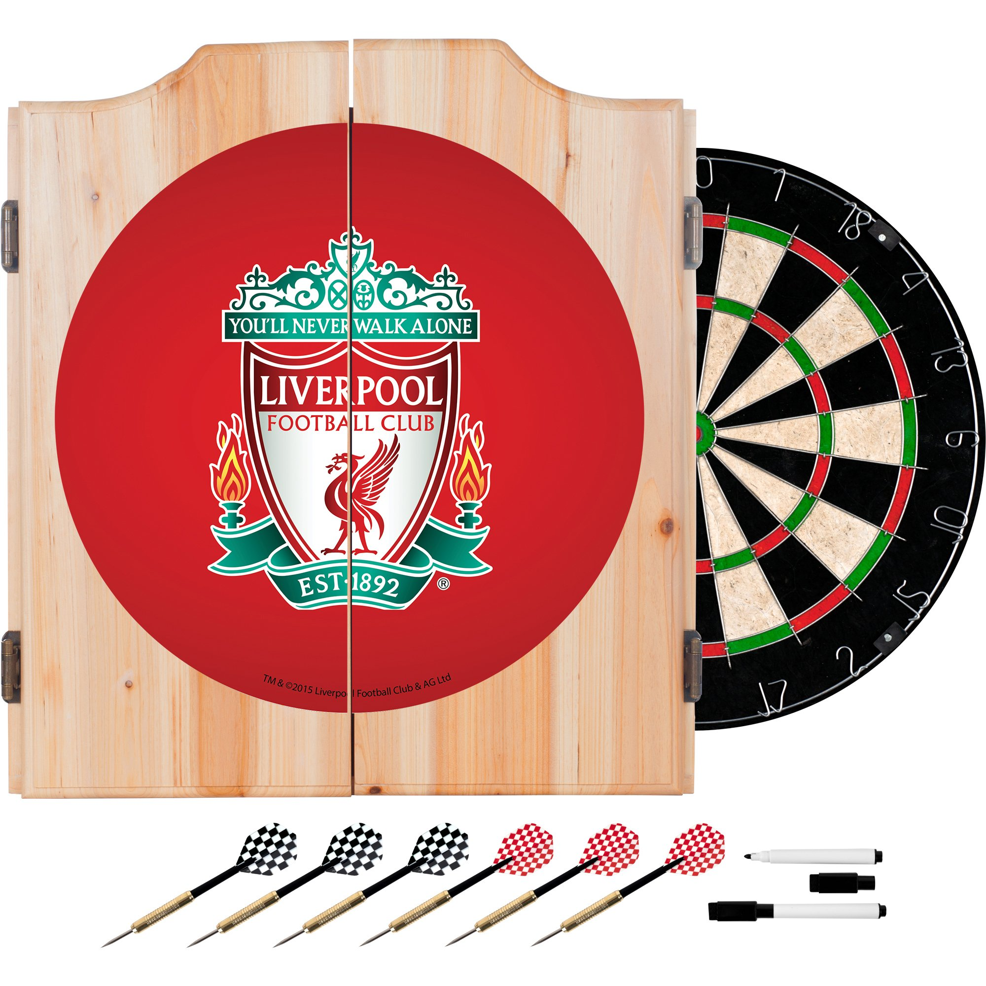 Premier League Liverpool Football Club Dart Cabinet Set with Board