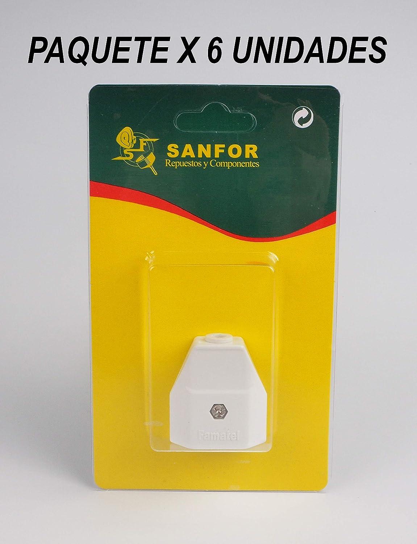 Paquete 6 unidades Sanfor 70290 Bl/íster Clavija Hembra Desmontable de 10 Amperios R-223 Blanca