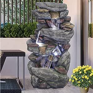 "Outdoor Garden Fountain with LED Lights - 5 Tier Rock Waterfall Standing Water Fountain for Garden Patio Deck Porch Backyard Yard Decor Fountain Outdoor Indoor Art Fountain 40.15"""