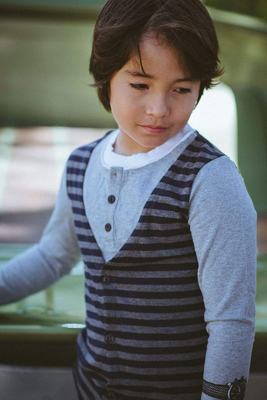 Mini Shatsu Layered Henley Vest Shirt