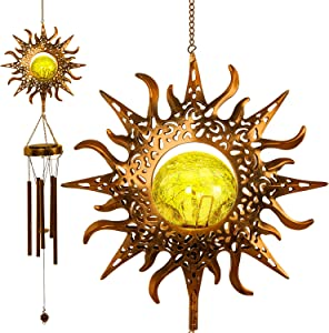OLIKER Sun Wind Chimes for Outside Patio Decor with Crackle Glass Ball Sympathy Metal Wind Chimes Solar Garden Hanging Decor Dad Gifts Deep Tone Wind Chimes