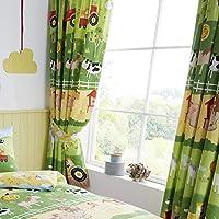 Happy Linen Company Set de Cortinas Infantiles de galón Fruncido - Animales de Granja- Verde/Amarillo - 168 x 137 cm