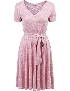 80dcfb69 Showyoo Women Lace Short Sleeve Round Neck Summer Flared Midi Dress with  Belt