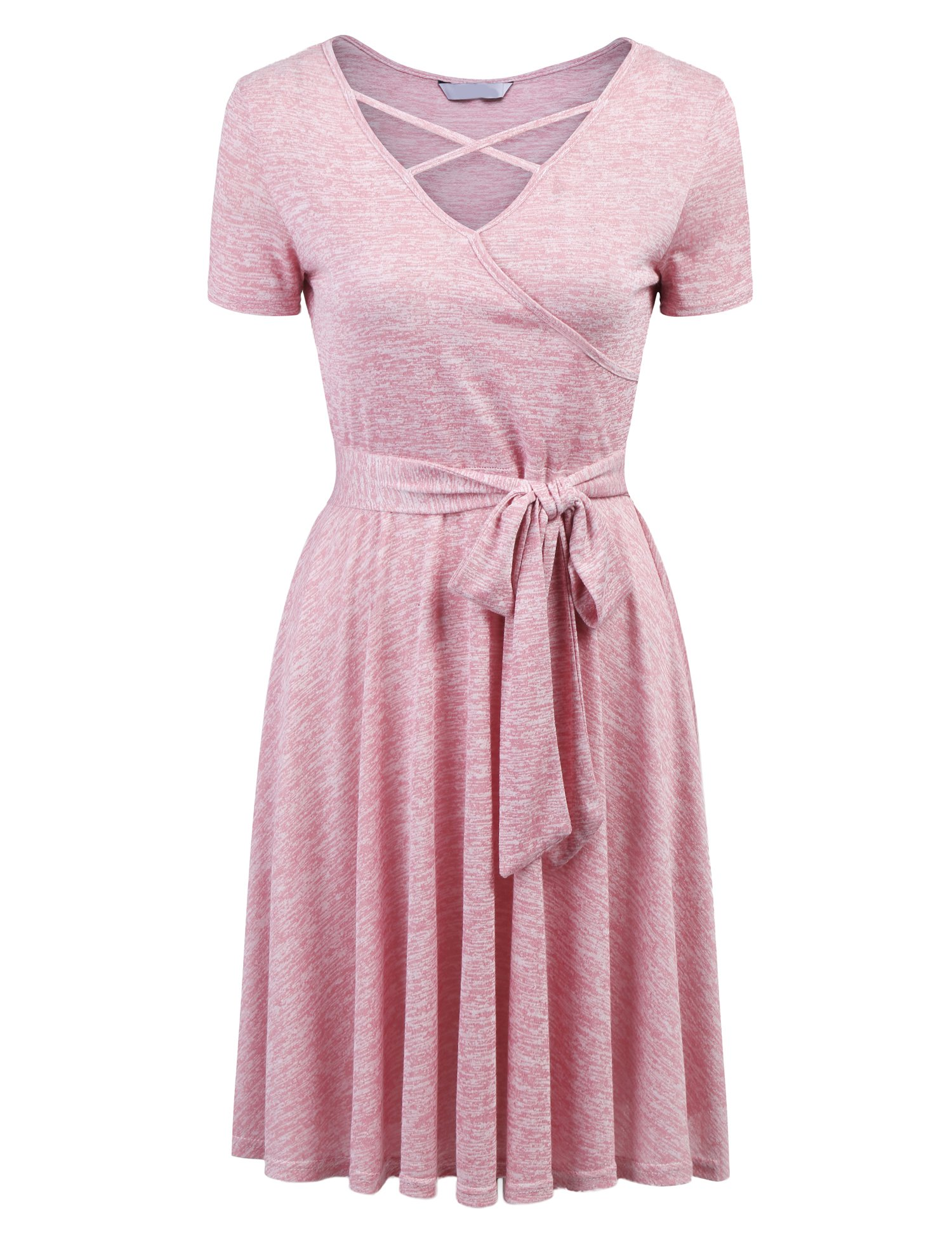 Showyoo Cotton Petite Dresses Casual Flowy Bow Tie Dress For Women Misty Rose M