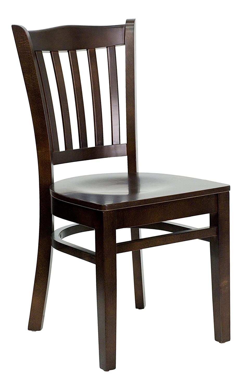 Brown 1 Pack Flash Furniture 2 Pk. HERCULES Series greenical Slat Back Natural Wood Restaurant Chair - Black Vinyl Seat