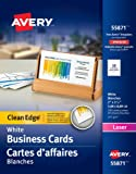 """Avery Clean Edge Business Cards for Laser Printers,  2"""" x 3-1/2"""", White, Matte Coated, 200 Pack, Rectangle (55871)"""