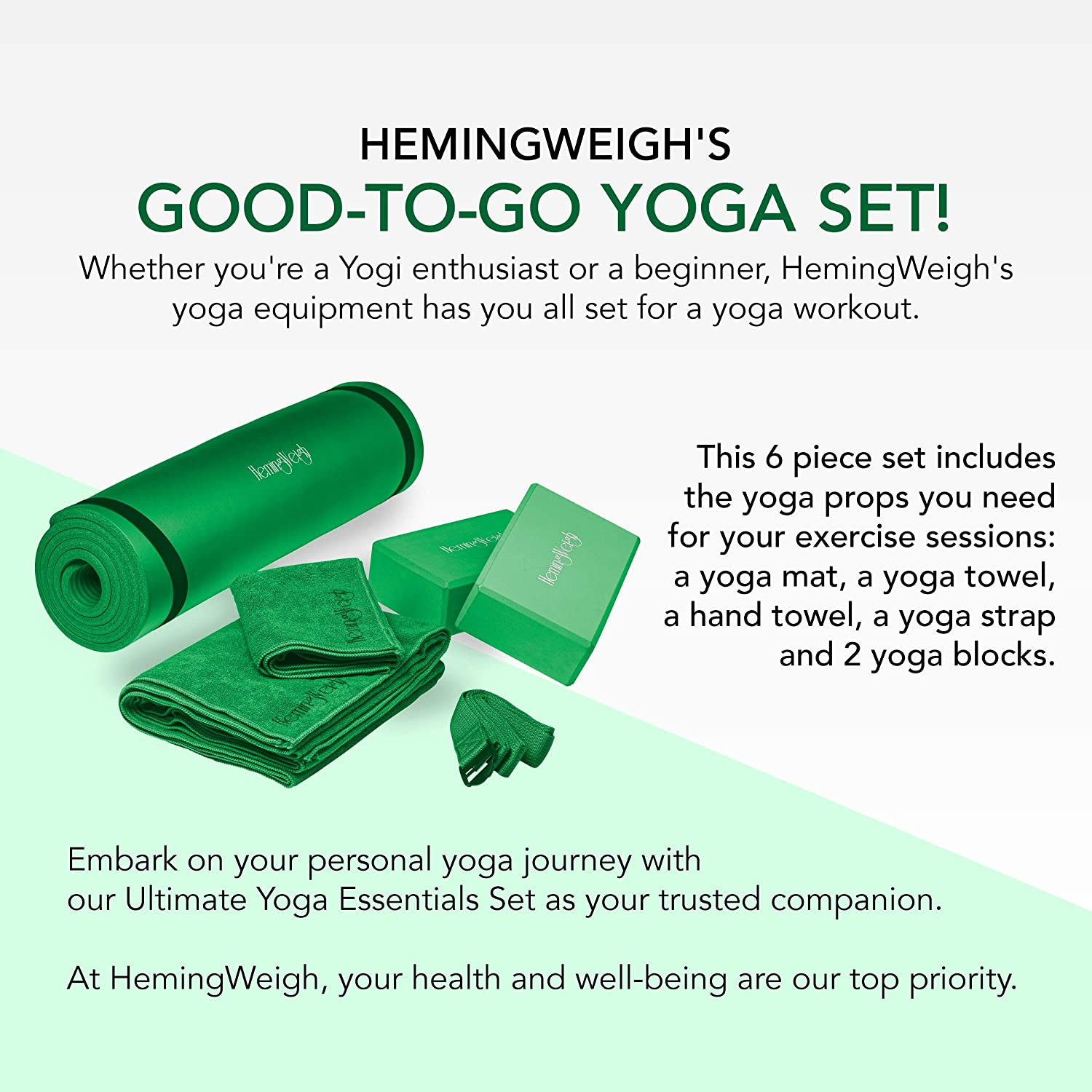 Yoga and Pilates HemingWeigh 1//2-Inch Extra Thick High Density Exercise Yoga Mat with Carrying Strap for Exercise