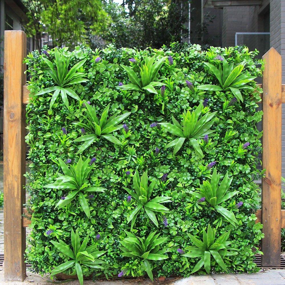 ULAND ウォールグリーン 壁面緑化 フェイクグリーン 人工 観葉 植物 マット 壁掛け 造花 ミックス リーフ ラベンダー 緑 店舗装飾 芝生 インテリア 1mx1m (緑) B077MC285M  緑