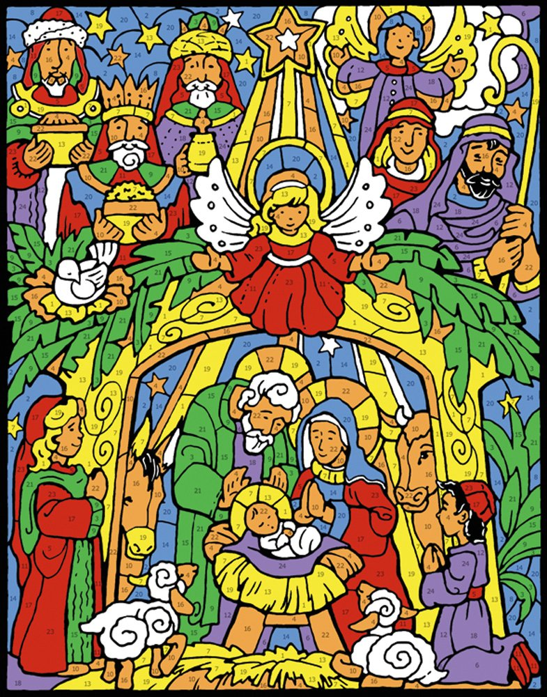 Colorful Nativity Color Your Own Advent Calendar Countdown to Christmas