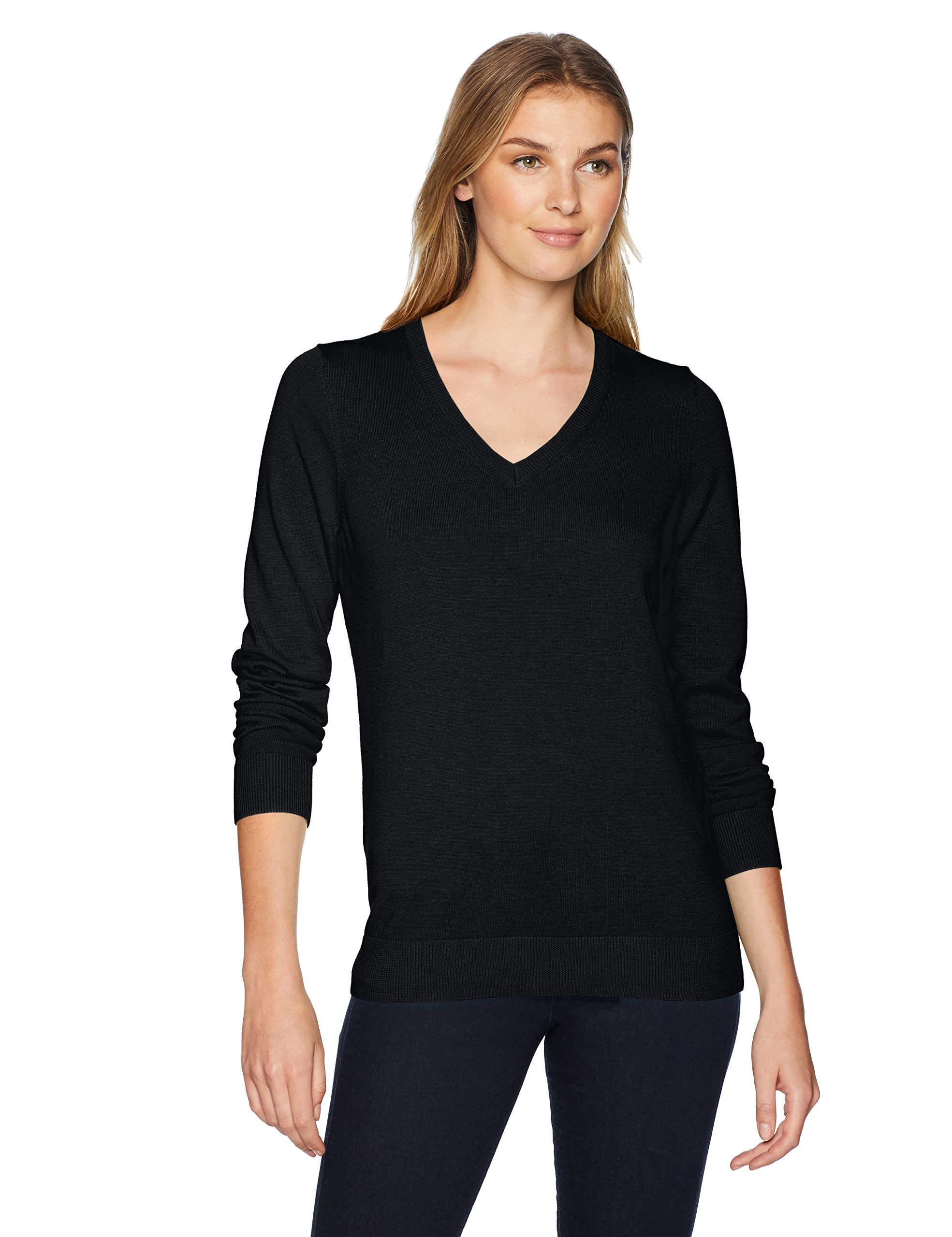 Amazon Essentials Women's Standard V-Neck Sweater, Black, X-Large