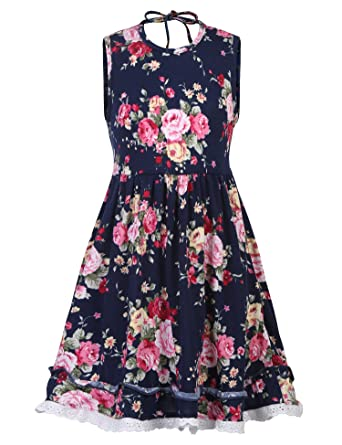 ab3b41376719 Amazon.com  BURLADY Little Girls Floral Dress Sleeveless Summer Cute ...