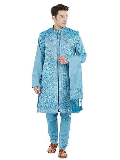 Desgaste del Partido 4 Piezas Kurta Pijama Sherwani robaron Set Hombres Vestido de Moda para el