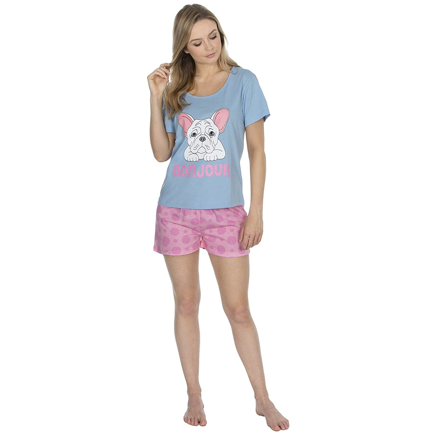 Forever Dreaming Ladies Cotton Jersey Shorts   Top Pyjama Set   Amazon.co.uk  Clothing 825f6d450