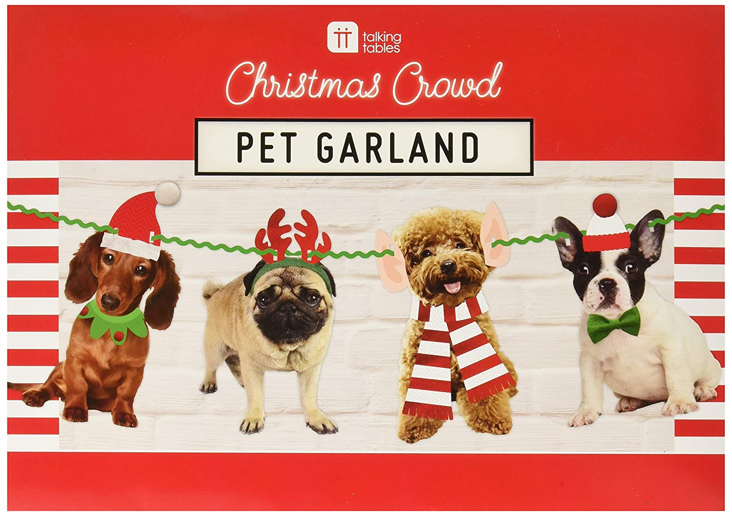 3m Talking Tables Christmas Entertainment Humorous Dog Garland with 10 Pennants for Christmas Decoration and Party