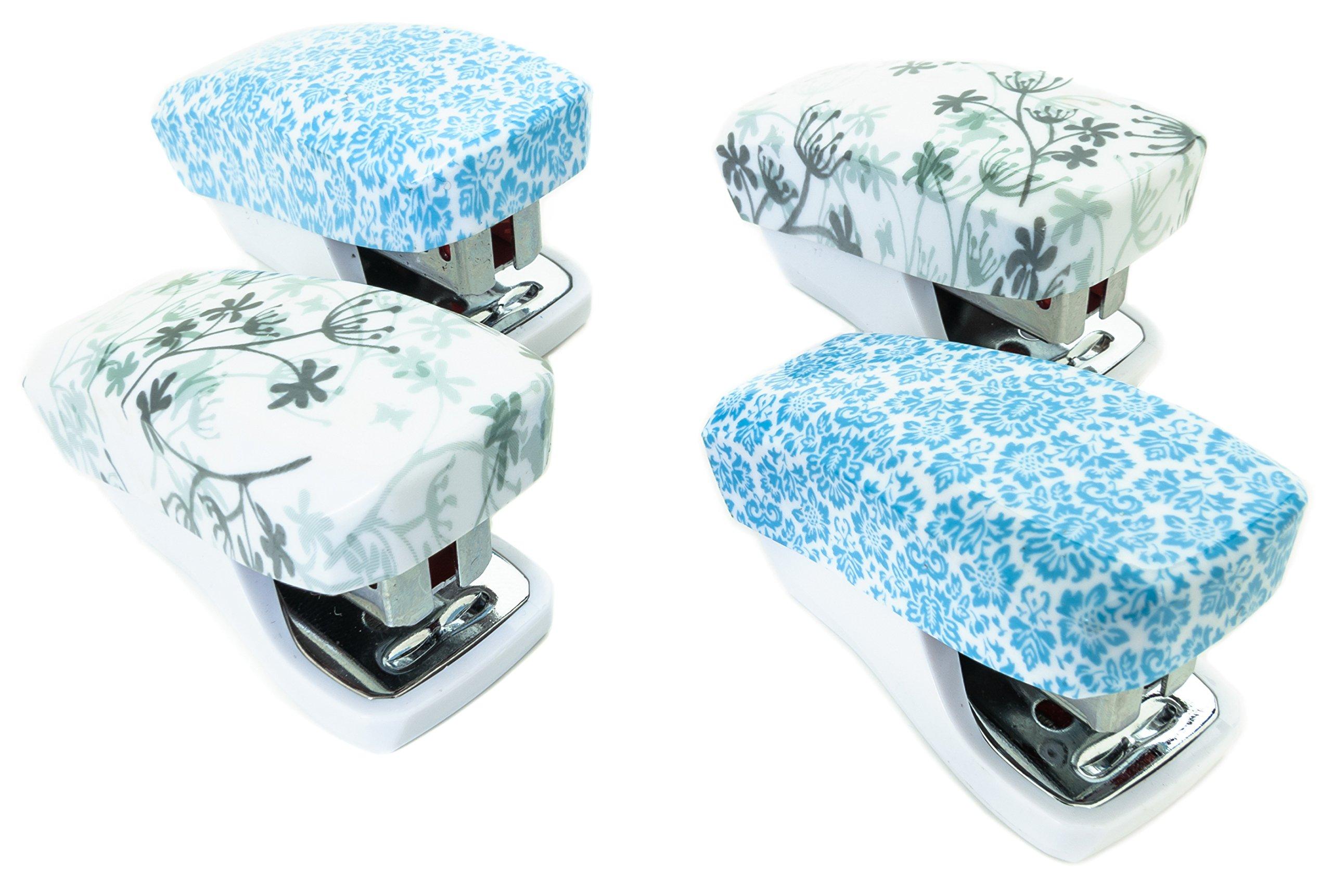 PraxxisPro Stapler Set, Mini Staplers, Built-In Staple Remover, Set of 4 (Bluebell, Dandelion Print)