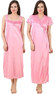 Fasense Women Satin Nightwear Sleepwear 2 PCs Set of Nighty   Wrap Gown  GT004 261db29c1