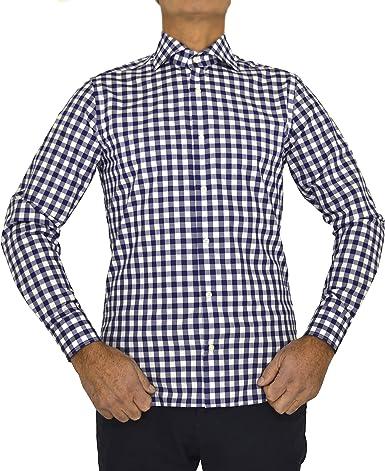 E. MECCI Ventas DE Julio Camisa de Hombre Made in Italy 100% algodón Cuadro Azul Slim Fit Manga Larga: Amazon.es: Ropa y accesorios