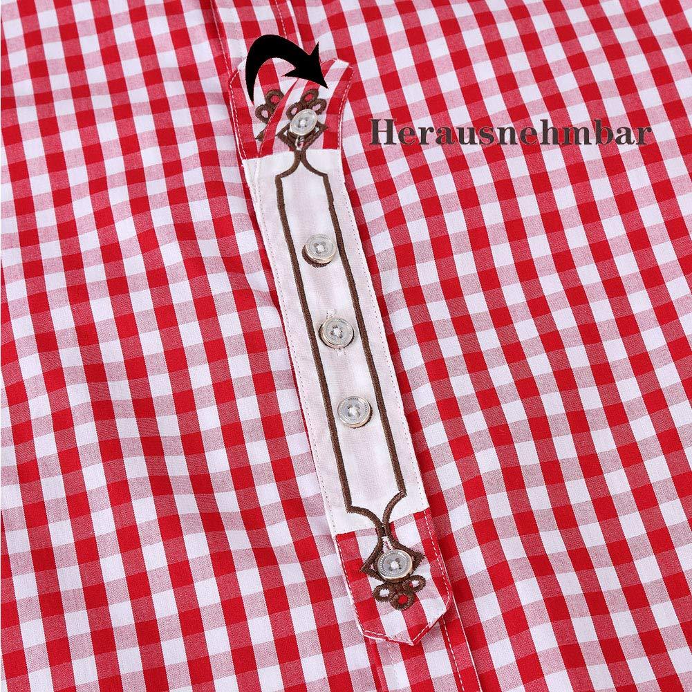 Freizeit KOJOOIN Trachtenhemd kariert Herren Hemd Freizeithemd Landhausstil Langarmhemd Slim fit Hemd Bestickt Baumwolle f/ür Oktoberfest Verpackung MEHRWEG Business
