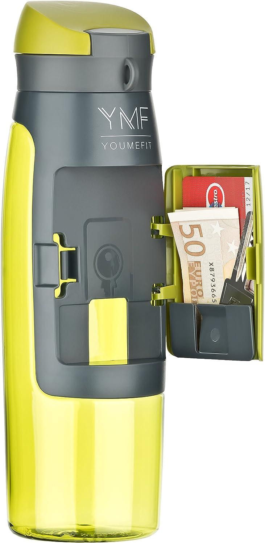 YOUMEFIT Sport Trinkflasche mit Fach für Geld, Karten I praktische Sportflasche 1