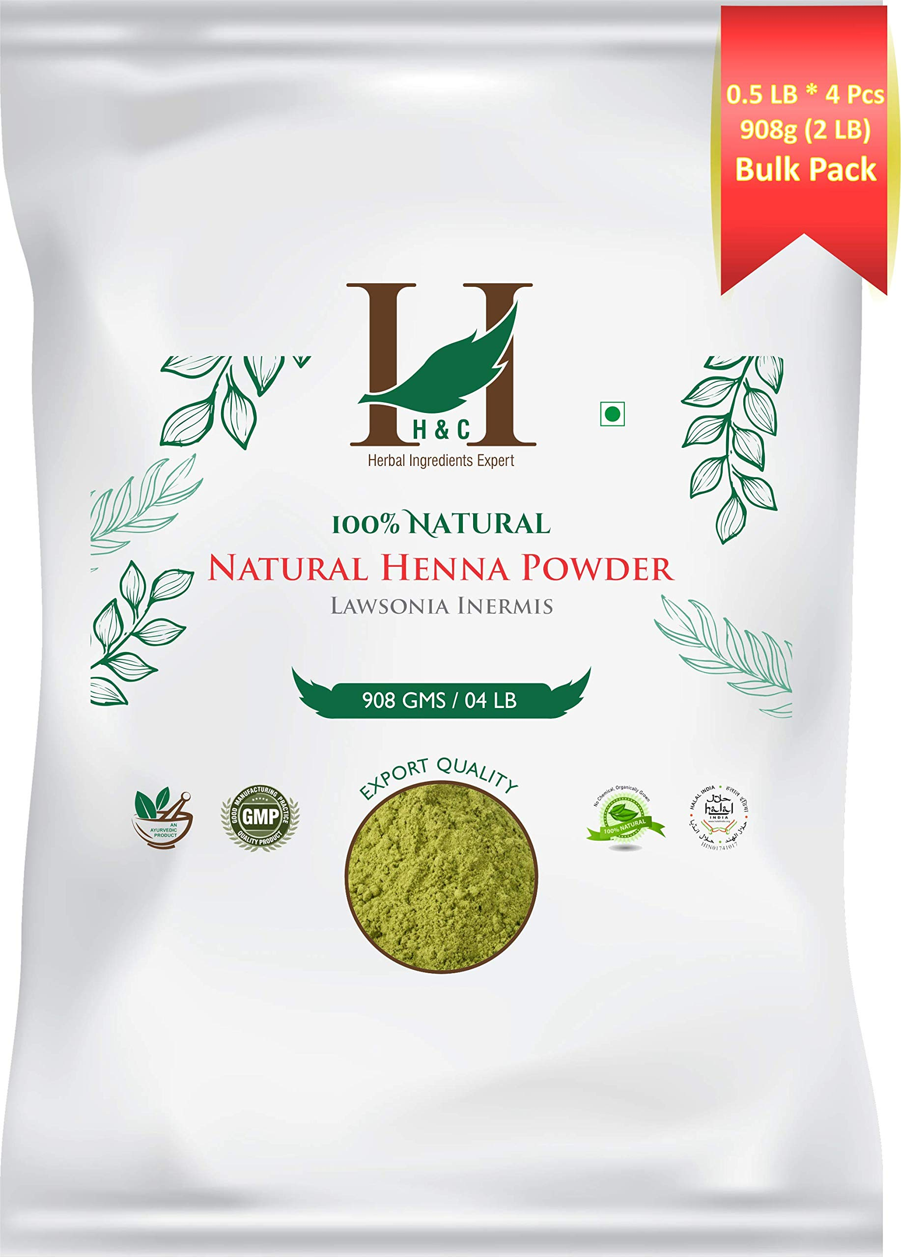100% Natural Organically Cultivated Henna Powder Specially For Hair - Bulk Pack -Triple Sifted Henna Powder - Lawsonia Inermis (For Hair) 02 LB / 32 oz (908 gms)- No PPD no chemicals, no parabens by H&C