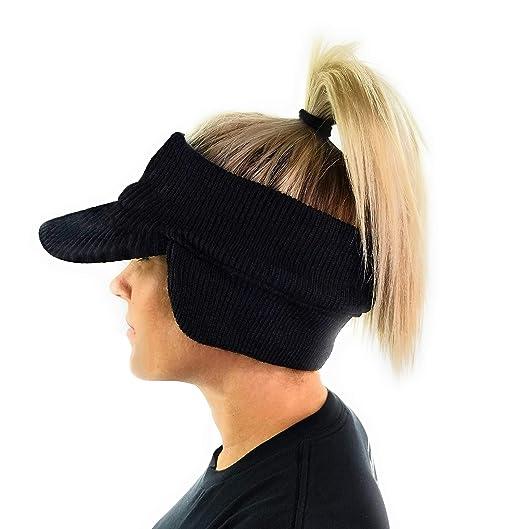 3763e39ff1d Chunky Knit Open Visor Brim Ear Flap Hat