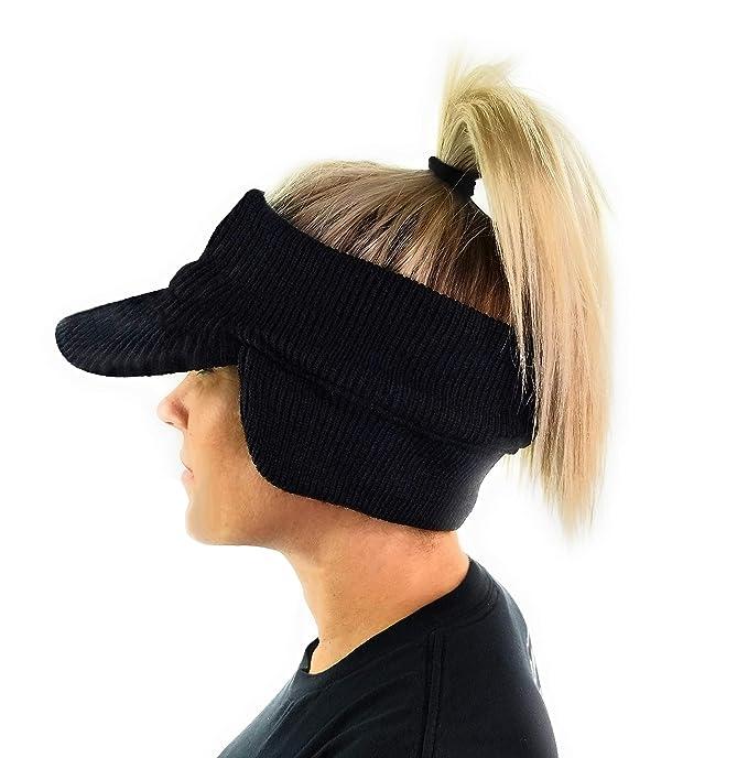 888ce8eea Double Layer Knit Open Visor Brim Ear Flap Hat, Winter Visor Headband  Ponytail Beanie