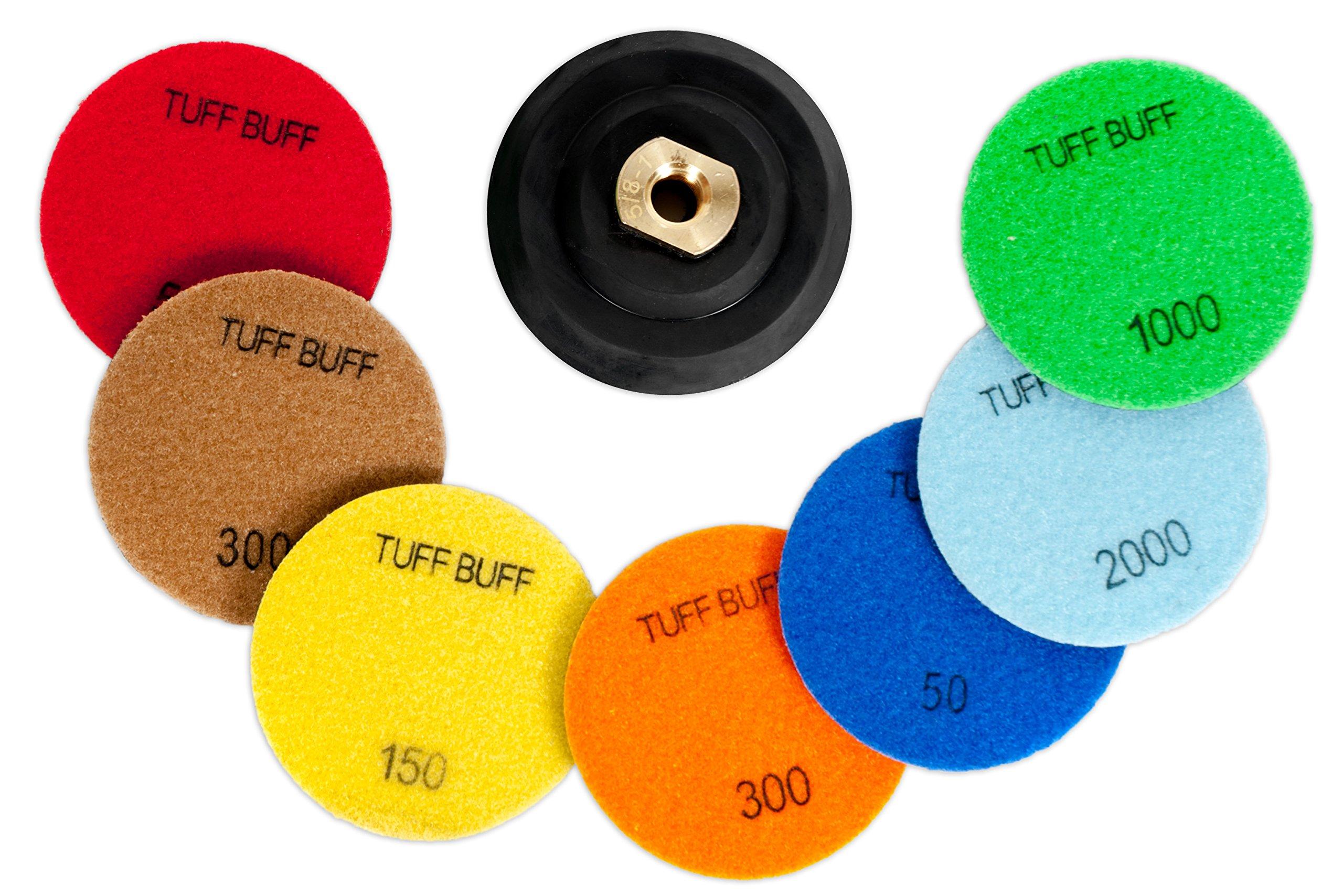 TUFF BUFF - Wet/Dry Diamond Polishing Pads - 11 Piece Set with Rubber Backer for Granite, Stone, Concrete, Marble, Travertine, Terrazzo- 4'' Inch Pads by Tuff Buff (Image #4)