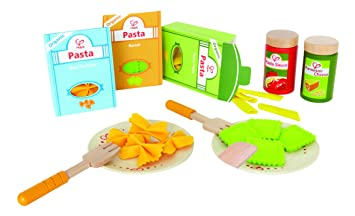 Amazon Com Hape Pasta Wooden Play Kitchen Food Set With
