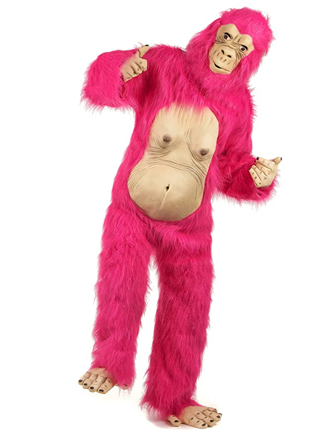 Disfraz de gorila rosa neón para adulto