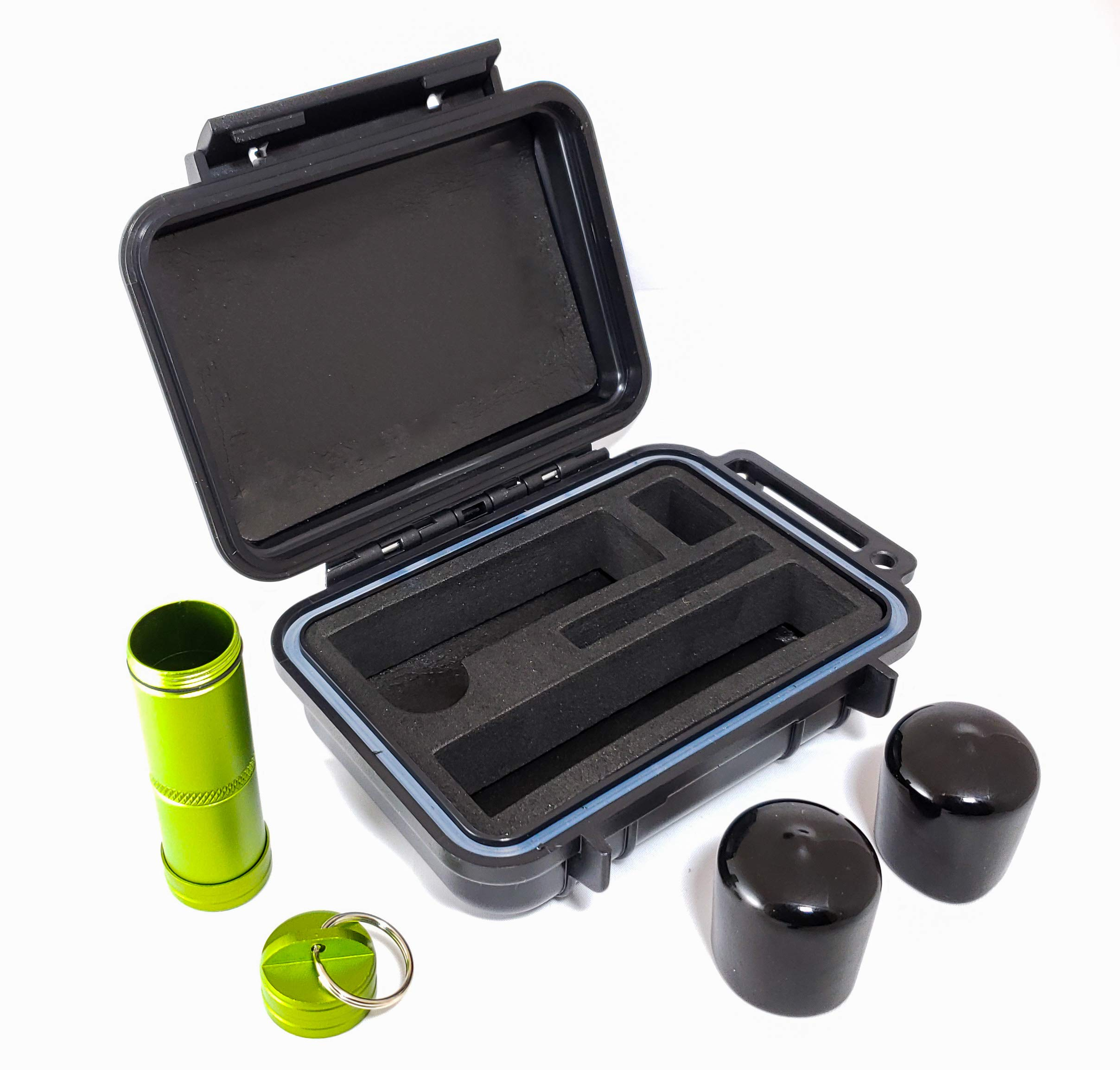 BOMBER CASE - Pax 2 & Pax 3 Smell Proof Case - Includes Material Bottle and Odor Proof Bumper End Caps - Accessory Kit