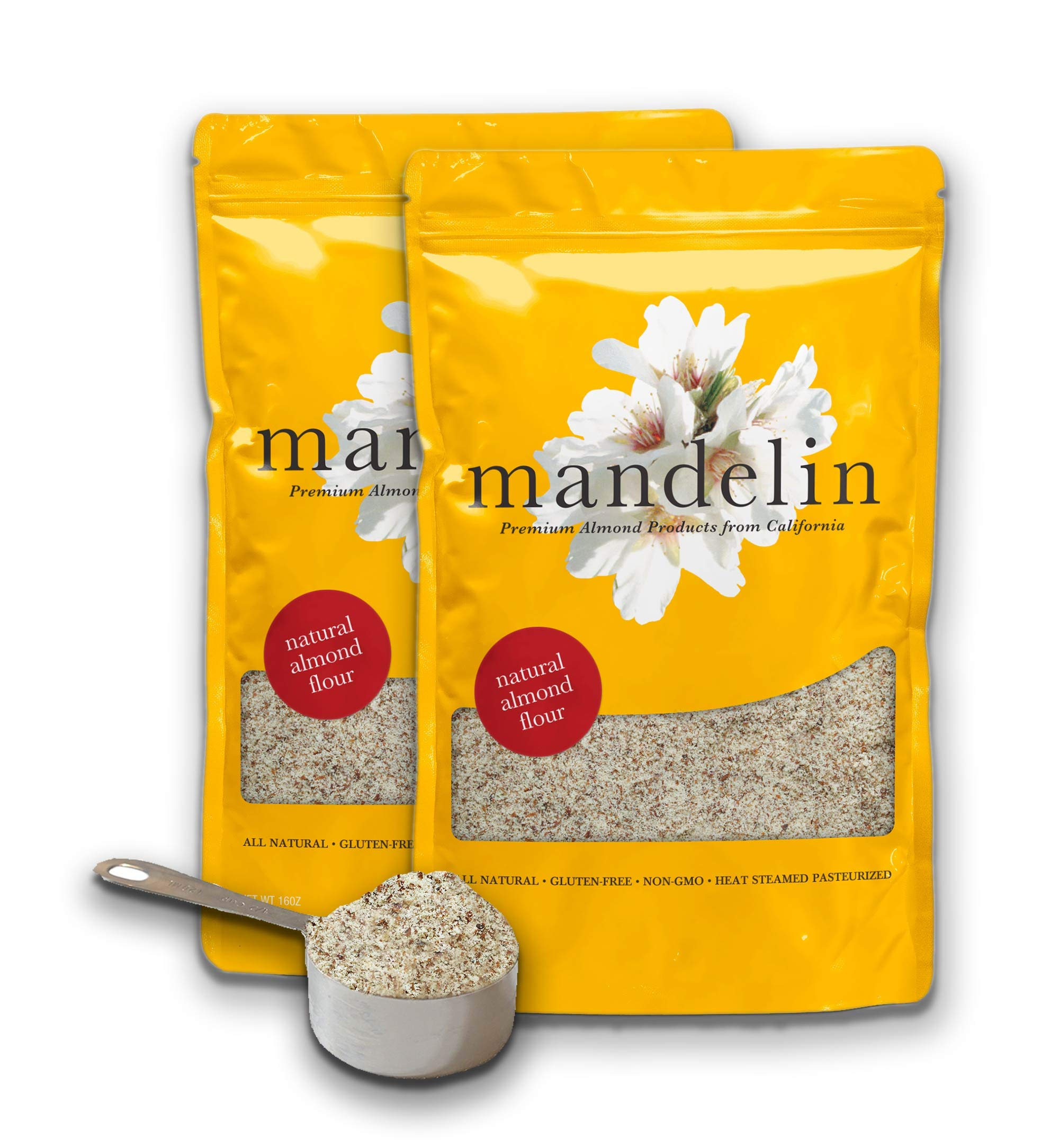 Mandelin Fresh Natural Almond Flour - 100% Almond Flour / Meal, With Skin, Super Fine Mill, Non-GMO, Gluten Free, Vegan, Keto, Plant Based Diet Friendly (2 lb)