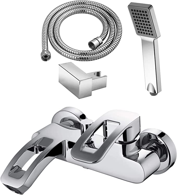Grifo cromado monomando de baño y ducha, serie LAX, modelo LAX0483C