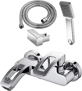 GRIFERIAS BORRÁS - SERIE LAX - Grifo baño y ducha Monomando LAX0483C - pack con flexo, soporte pared y manual , Cromo - Instalación Baño