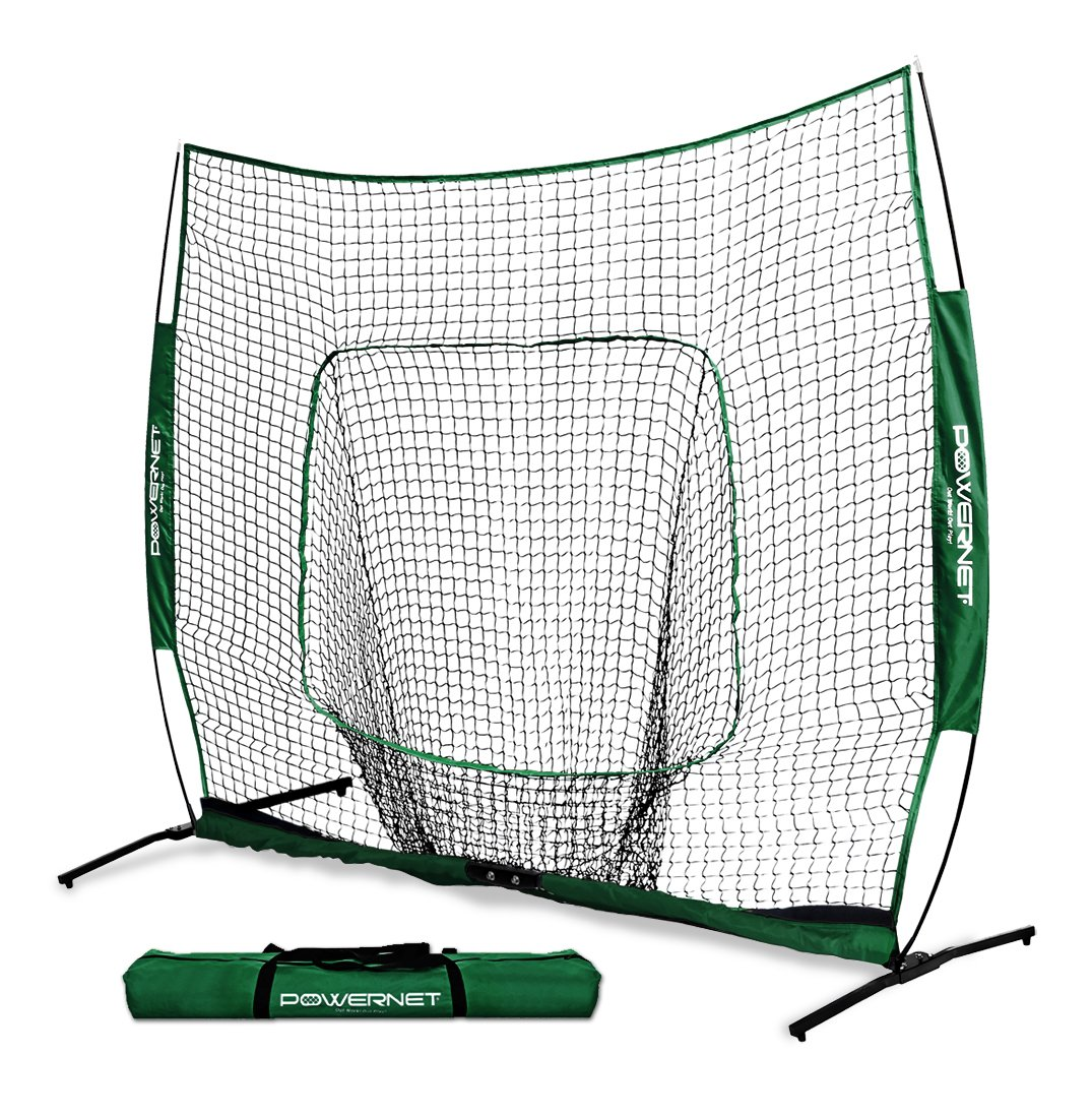 PowerNet 7x7 PRO Net with One Piece Frame (Green) | Baseball Softball Practice Net | Training Aid for Hitting Pitching Batting Fielding Portable Backstop | Bow Style Frame | Non-Tip Weighted Base by PowerNet