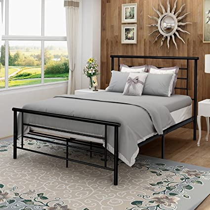 Metal Bed Frame Iron Decor Steel Queen Size With Headboard And Footboard  Platform Base Legs Slats