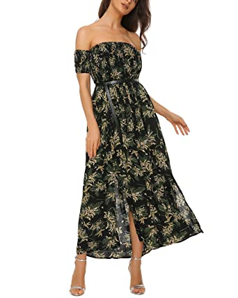 Mixfeer Women s Off The Shoulder Split Floral Print Flowy Party Maxi Dress  Boho Dress Black 47986ec386b0