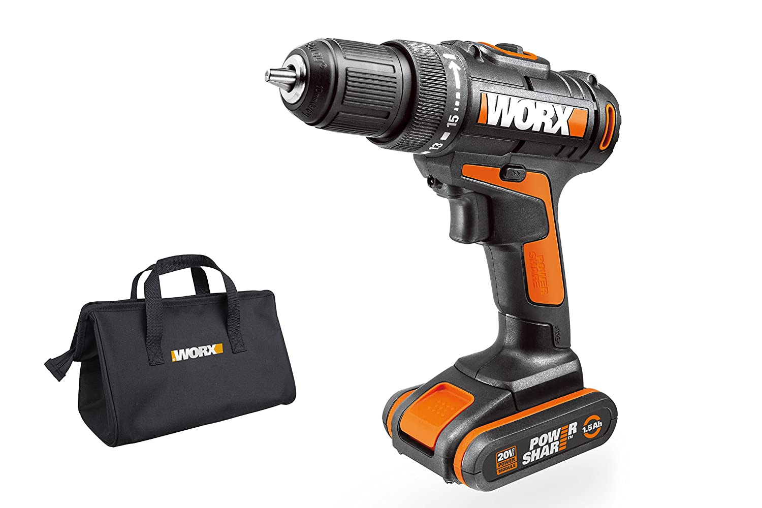WORX WX100.1 18V 20V MAX Cordless Drill Driver with 1.5 Ah Battery