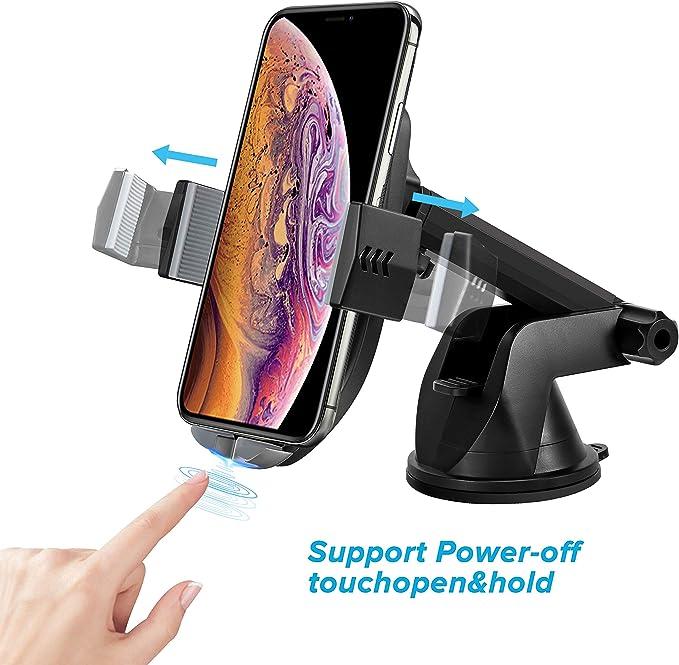 supporto per auto da 10 W con morsetto a rilevamento automatico Supporto per cruscotto per parabrezza Cruscotto compatibile Supporto da auto per caricabatterie wireless