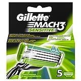 Gillette Mach3 Sensitive Rasierklingen Für Männer, 5 Stück