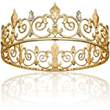 Gold King Crown for Men, Metal Royal Prince Crown and Tiaras for Birthday Prom Party Hats Costume