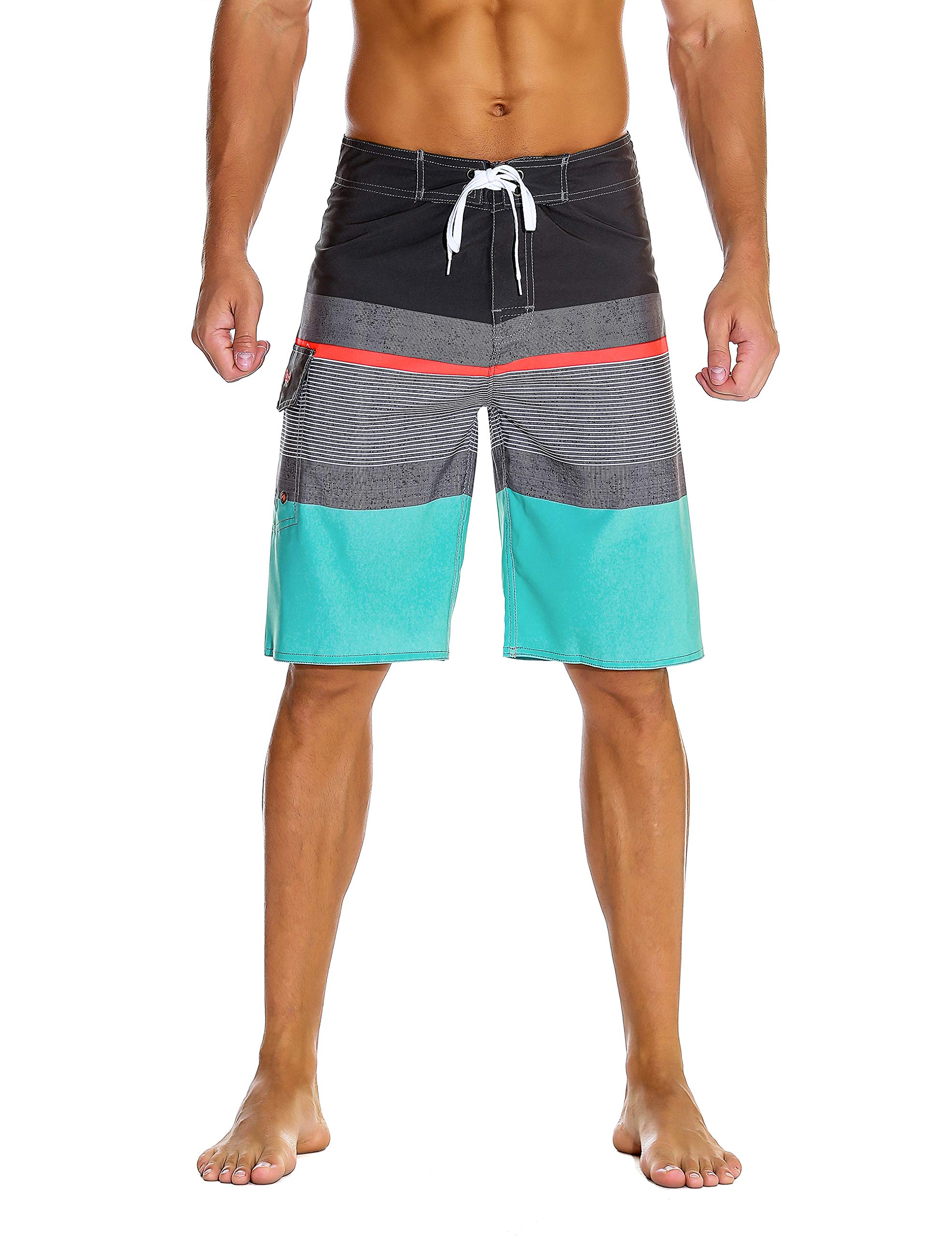 Nonwe Men's Sportwear Quick Dry Board Shorts with Lining Gray 34 by Nonwe