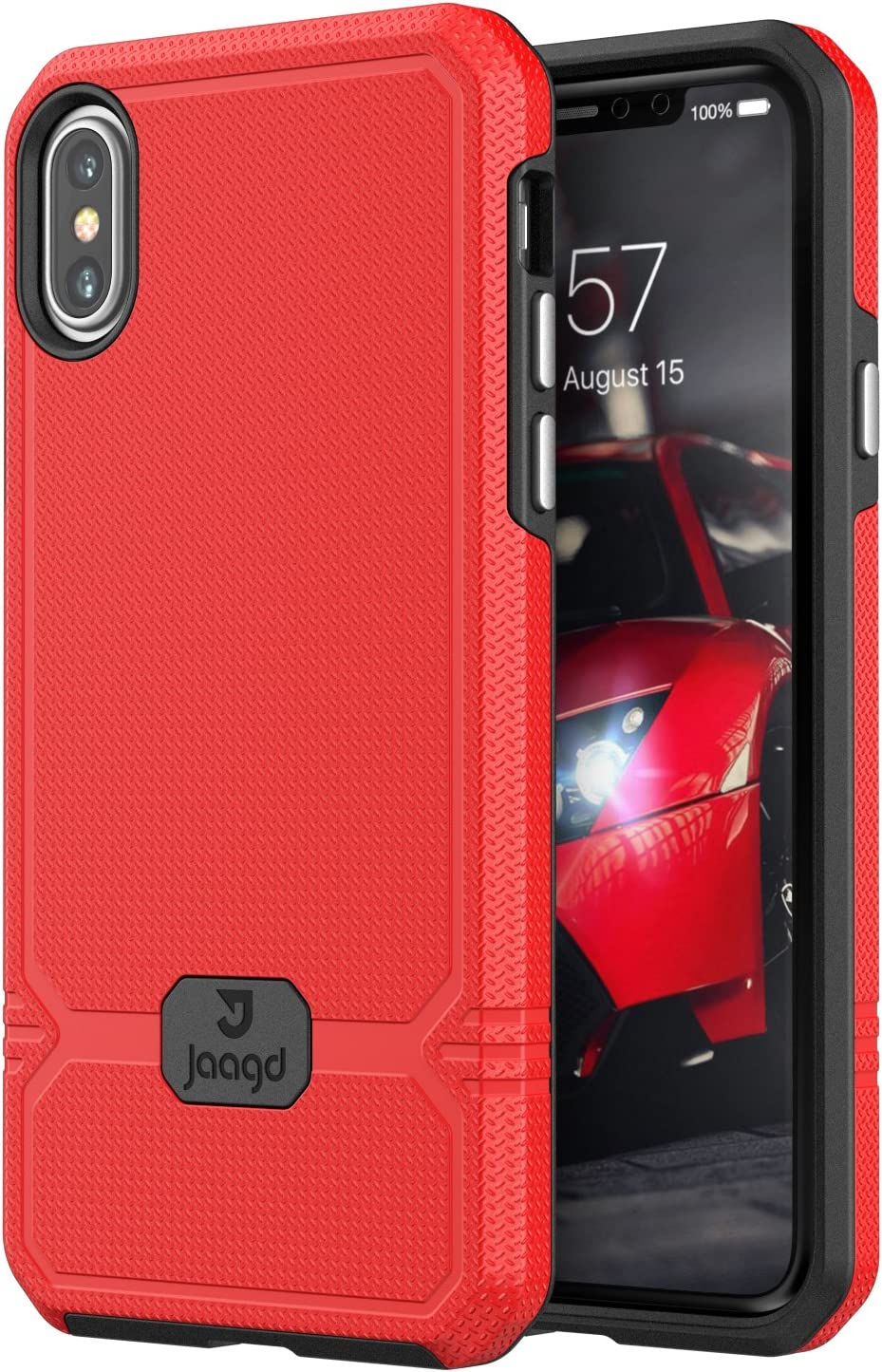 Jaagd iPhone X Case, iPhone 10 Case, Slim Shock-absorbing Modern Slim Non-slip Grip Cell Phone Case (Red)