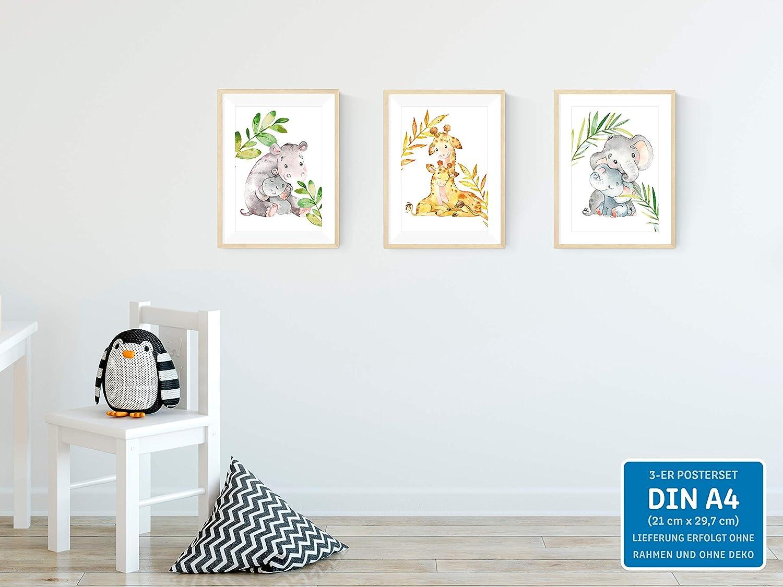 Aquarell Kinderzimmerbilder Wandbild ohne Bilderrahmen Wandposter kizibi 3er Set Elefant Nilpferd Giraffe Tiere DIN A4 Poster f/ür Kinderzimmer und Babyzimmer Kinderposter Deko Jungen und M/ädchen