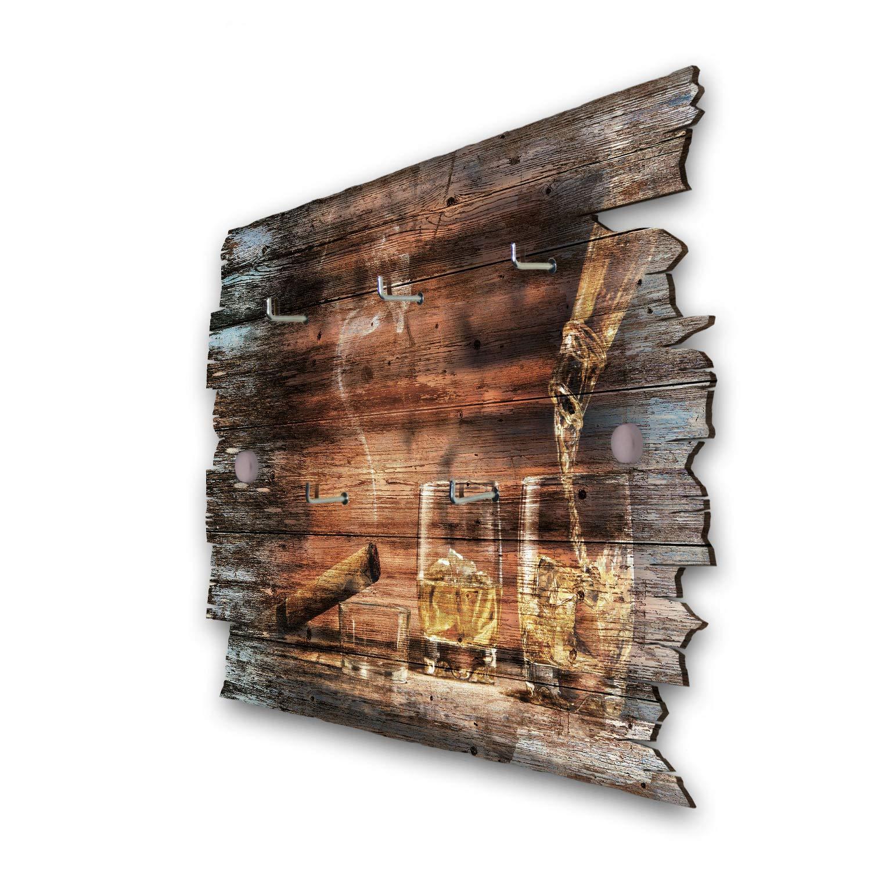 Shabby aus Holz 30x20cm Hakenleiste Landhaus Style Kreative Feder Whisky Designer Schl/üsselbrett HSB119