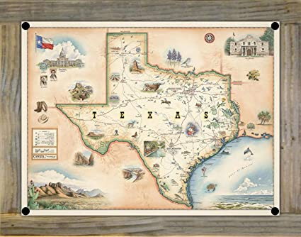 Map Of Northwest Texas.Amazon Com Northwest Art Mall State Of Texas Hand Drawn Map Metal