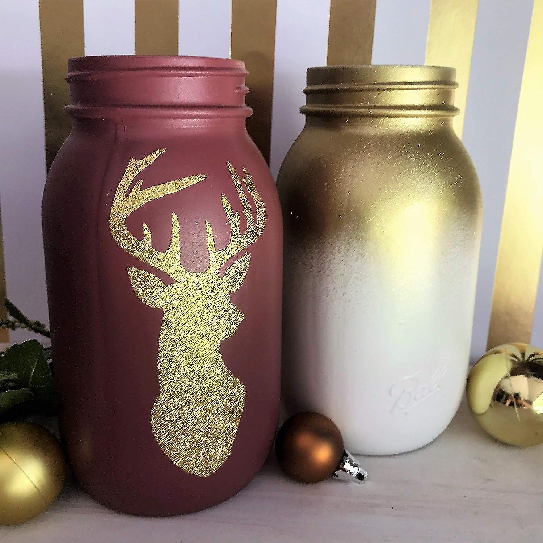 Amazon.com Rustic Painted Glitter Mason Jars Centerpiece