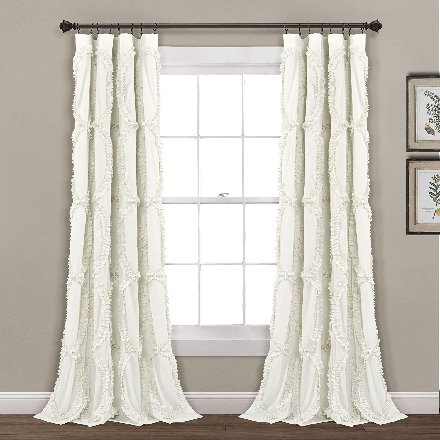 "Lush Decor Avon Window Curtain Ivory Panel for Living, Dining Room, Bedroom (Single), 84"" x 54"","