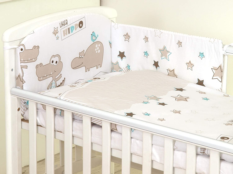 Pillow CASE Duvet Cover COT 120X60, Baby Elephant- Pink 3PCS Baby Bedding Set fit Cot 120x60 or Cot Bed140x70CM Bumper